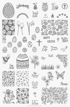 nail art stamping plate: Easter and Spring themed nail art plate - perfect for those who love Easter egg hunts, Easter Nail Art and more! Pretty Christmas Trees, Christmas Tree Pattern, Christmas Nail Art, Holiday Nails, Christmas 2019, Nail Art Stamping Plates, Nail Plate, Nagel Stamping, Gold Nail Polish