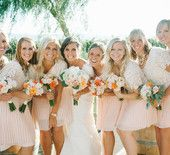 Blush and Lace Bridesmaids Dresses, Complimentary Flowers