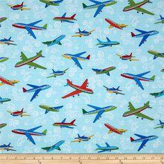 "55/""W Children Kids Poplin Aeroplane Airplane Print Craft 100/% Cotton Fabric"