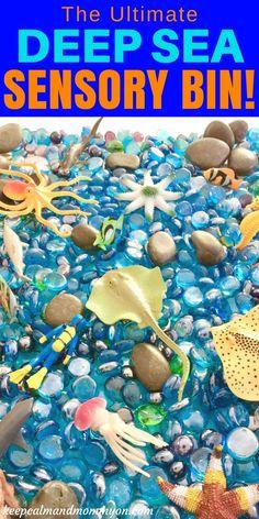 The ultimate deep sea sensory bin! A great ocean theme sensory bin idea for kids! A great sensory activity for toddlers, a great sensory activity for preschoolers, and great for strengthening fine motor skills!