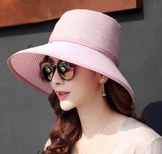 Summer beach straw bucket hat removable sun visors for women