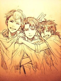 Levi(Rivaille)(In the Middle), Furlan(On the Right) and Isabel(On the Left), Cute