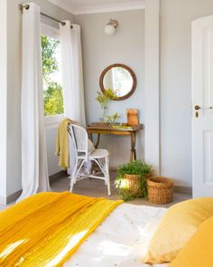 dove grey as the main color, white as additional and sunny yellow accents create a sunny and bold interior Diy Interior, Interior Decorating, Interior Design, Luxury Home Decor, Luxury Homes, Yellow Bedding, Bedding Sets, Farmhouse Style Decorating, Home Hacks