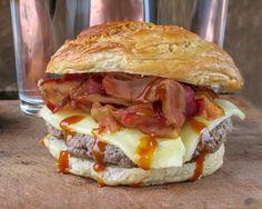 Barbecue Bacon Gouda Cheeseburgers on Homemade Bagel Buns
