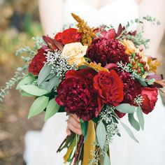 Ellie's bridal bouquet was filled with dark red and yellow roses, hypericum berries and eucalyptus. Green And Burgundy Wedding, Dark Red Wedding, Red And Yellow Roses, Yellow Wedding, Floral Wedding, Fall Wedding, Wedding Colors, Wedding Flowers, Wedding Ideas