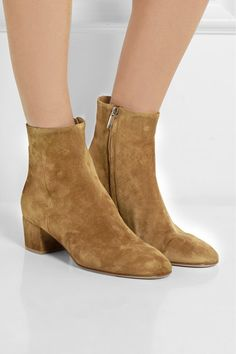 Heel measures approximately 45mm/ 2 inches Camel suede Zip fastening along side Designer color: Almond