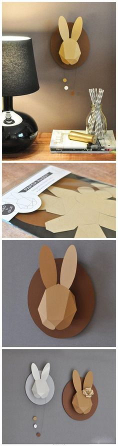 DIY bunny head mount. Thanks to the best sister ever for sending it over my way. How adorbs.