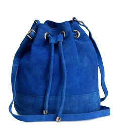 H&M blue suede bucket bag