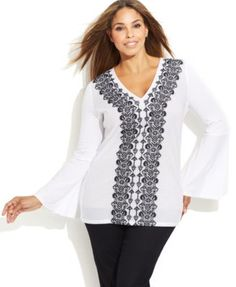MICHAEL Michael Kors Plus Size Long-Sleeve Embroidered Top