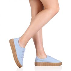 Yinka Creepers In Blue Faux Suede and Gum Sole
