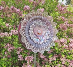 Flower Garden Art Glass Yard Stake Outdoor Decor UpCycled ReCycled DARLA