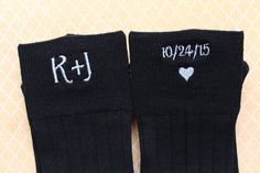 Embroidered Wedding Socks for Your Groom on Your Wedding Day!  ●▬▬▬▬▬▬▬▬▬▬●✿ LISTING ITEM ✿●▬▬▬▬▬▬▬▬▬▬●  1 pair of Premium Mens Black Dress Socks with