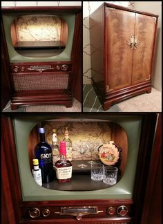 Vintage cabinet tv repurposed into a bar. It has two shelves inside, an automatic light that turns on/off when you open/close the doors.