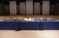 Head table in front of the stage