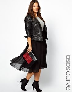 ASOS Curve - Midi Skirt With Pleats. #plussize plus size fashion