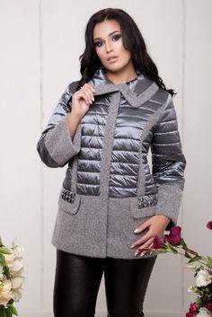 Комбинированная куртка ангора 578-GRAY - 3189827
