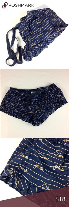 """PINK Victoria's Secret Navy Pajama Shorts (sz XS) These cute & comfy pj shorts have been preloved, but are still in good condition! I do not notice any major flaws. They are 100% cotton. The inseam measures 2"""", & the waist measures 14.5"""" across flat relaxed. Reasonable OFFICIAL Offers may be considered 😊 PINK Victoria's Secret Intimates & Sleepwear Pajamas"""