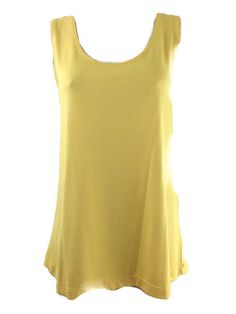 Chicos 2 Top Yellow Sleeveless Scoop Stretchy Shell Tank Womens Size M/L 12/14 #Chicos #TankCami #Casual