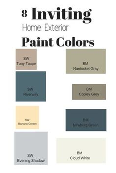 Want to update your homes exterior paint color? Use one of these 8 inviting paint colors to boost your homes exterior curb appeal Outside Paint Colors, Outdoor Paint Colors, Outside House Colors, Farmhouse Paint Colors, Exterior Color Schemes, Exterior Paint Colors For House, House Color Schemes, Paint Colors For Home, Exterior Design