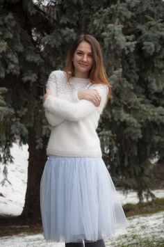 Ravelry: Winter Angel pattern by Tanya Mulokas Knitwear Fashion, Knit Patterns, To My Daughter, Tulle, Angel, Fancy, Pullover, Knitting, Winter