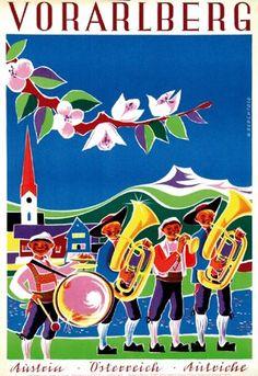 Vintage Travel Poster - Vorarlberg - Austria - by Hubert Berchtold Vintage Travel Posters, Vintage Ads, Vintage Images, Ski Posters, Cool Posters, Tourism Poster, Travel And Tourism, Travel Europe, European Travel