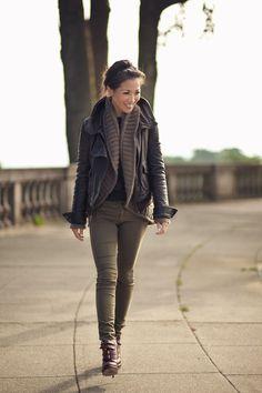 Leather jacket & Olive pants