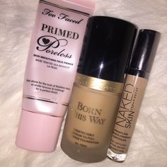 Too Faced Primed & Poreless Primer, Too Faced Born This Way Foundation, Urban Decay Naked Skin Weightless Complete Coverage Concealer
