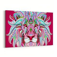 Colorful Lion Canvas Print - GearBunch Leggings / Yoga Pants how to make canvas art, 3 canvas paintings, canvas print arrangement Fall Canvas Art, Kids Canvas Art, Canvas Art Quotes, Canvas Signs, Canvas Ideas, Black Canvas, Canvas Canvas, Frames For Canvas Paintings, Canvas Artwork