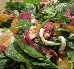 Orange Bacon Spinach Salad with Warm Red Onion-Balsamic Dressing ...
