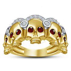 Two-Tone Plated  Simulated Diamond & Garnet Multi Skull Men's Band Ring Silver #beijojewels #MensBandRing #EngagementWeddingAnniversaryPartyWear
