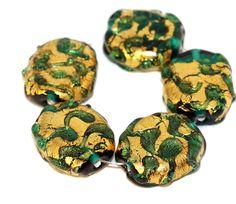 Green Gold 24k Christmas Lampwork Czech Beads Glass Beads Handmade Bohemian Beads Set Solid Gold Oval Round Bead Original 16mm x 14mm by CzechBeadsExclusive, $5.40  #bead #beads #czech #czechbeads #lampwork #etsy #glass