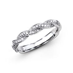 Fabled Collection - This gorgeous 18K white wedding band is comprised of .24ctw…