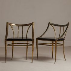 Talisman A Pair of Tarnished Brass Framed Side Chairs 1960s -