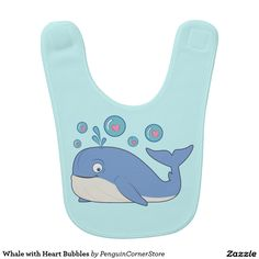Whale with Heart Bubbles Baby Bib