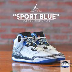 "Air Jordan Spizike GS ""Sport Blue"" | Now online! | http://bit.ly/XPsJL9 | #BAASBOVENBAAS #JORDAN #BLUE #SPORT"