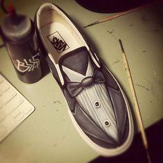 Custom Shoes by ~JordanMendenhall - classy tuxedo shoes Painted Vans, Custom Painted Shoes, Painted Sneakers, Hand Painted Shoes, Custom Shoes, Tuxedo Shoes, Diy Accessoires, Nike Outlet, Shoe Art