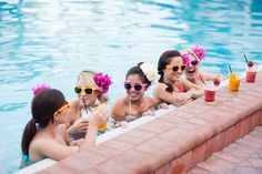 Bridesmaids with Fruit Smoothies at the Pool = fun bachelorette party girls weekend