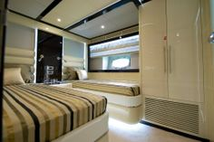 Nomad 75 twin guest stateroom. Visit gulfcraftinc.com for more information.