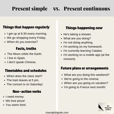 Present Simple vs Present Continuous. Click on the picture to learn 2 important rules for when to use the Present Continuous. Don't forget to do the exercise below the explanation! #presentcontinuous #aprenderinglés #languagelearning #learnenglish