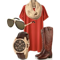 Autumn color dress, brown riding boots and cable circle scarf