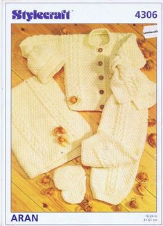 VINTAGE KNITTING PATTERNS INFANT CARDIGAN PANTS SCARF MITTENS HAT