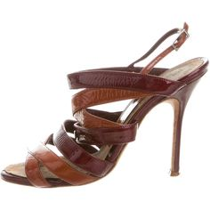 Pre-owned Manolo Blahnik Crossover Patent Leather Sandals (€115) ❤ liked on Polyvore featuring shoes, sandals, brown, buckle shoes, round cap, strap sandals, manolo blahnik shoes and strap shoes