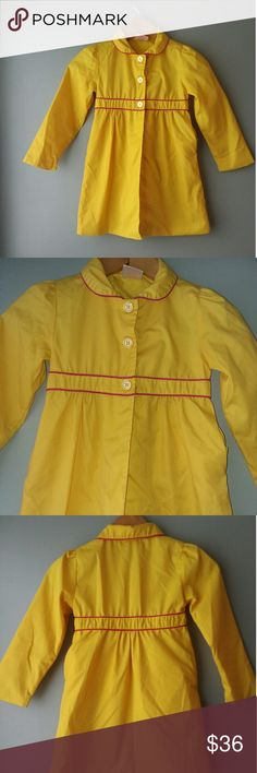 NWOT Sugah and honey yellow coat Bright yellow with dark pink. Dress up ur little princess for an outing. Add this to a dress for a complete outfit. Great condition.2 <13 <18 sugah and honey Jackets & Coats