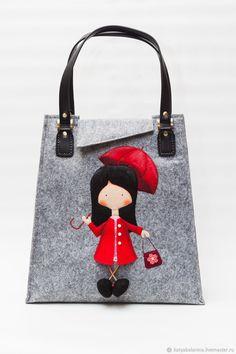 Войлочная женская зимняя сумка из фетра Девочка в красном – купить или заказать в интернет-магазине на Ярмарке Мастеров | Сумка сшита из искусственного войлока,…