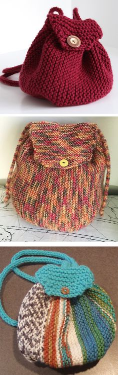 Free Knitting Pattern for Easy Garter Stitch Backpack - Drawstring backpack with flap is rated easy by the designer and Ravelrers. 24 in. diameter x 11 in. tall (61 x 28 cm). Designed by Lion Brand Yarn. Pictured projects by snaphappee, Sara-dL, and phdaisy1
