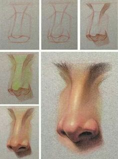 Drawing nose in three quarter view. Nose Drawing, Painting & Drawing, Art Sketches, Art Drawings, Art Du Croquis, Poses References, Art Studies, Drawing Techniques, Drawing People