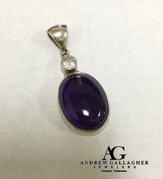 50% OFF! Sterling Silver Amethyst (27.8 carat) & White Topaz (1.1 carat) Pendant (No Chain)  |  Pendant Size: 47mm x 19mm | Original Retail Price: $89.00 SALE PRICE: $44.50. Call Andrew Gallagher Jewelers at 302-368-3380 for more information. We SHIP!! | #50OffJewelryCase