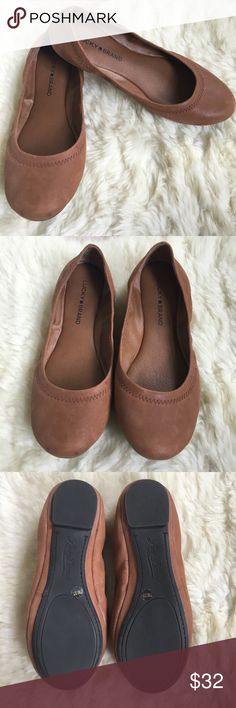 LUCKY BRAND Emmie flats Worn once! Great pair of LUCKY BRAND Emmie flats in a nice neutral brown. So soft! Rubber soles. Lucky Brand Shoes Flats & Loafers