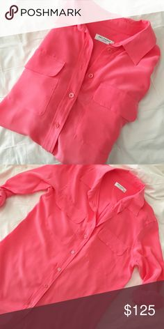 EQUIPMENT Silk Button Up Coral/Pink colored and great with skinnies or a skirt. Super cute and love the color. Excellent condition Equipment Tops Button Down Shirts