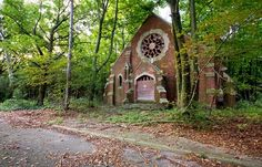 A view of the chapel on Hart Island (located in the Long Island Sound, near the Bronx neigborhood of City Island). Hart Island housed Confederate prisoners during the Civil War, and later served as a cemetery and missile base. Today it is managed by the New York City Department of Correction.
